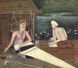 Kabir was born 1440, in Varanasi, to muslim weavers family. His names means great in Arabic.