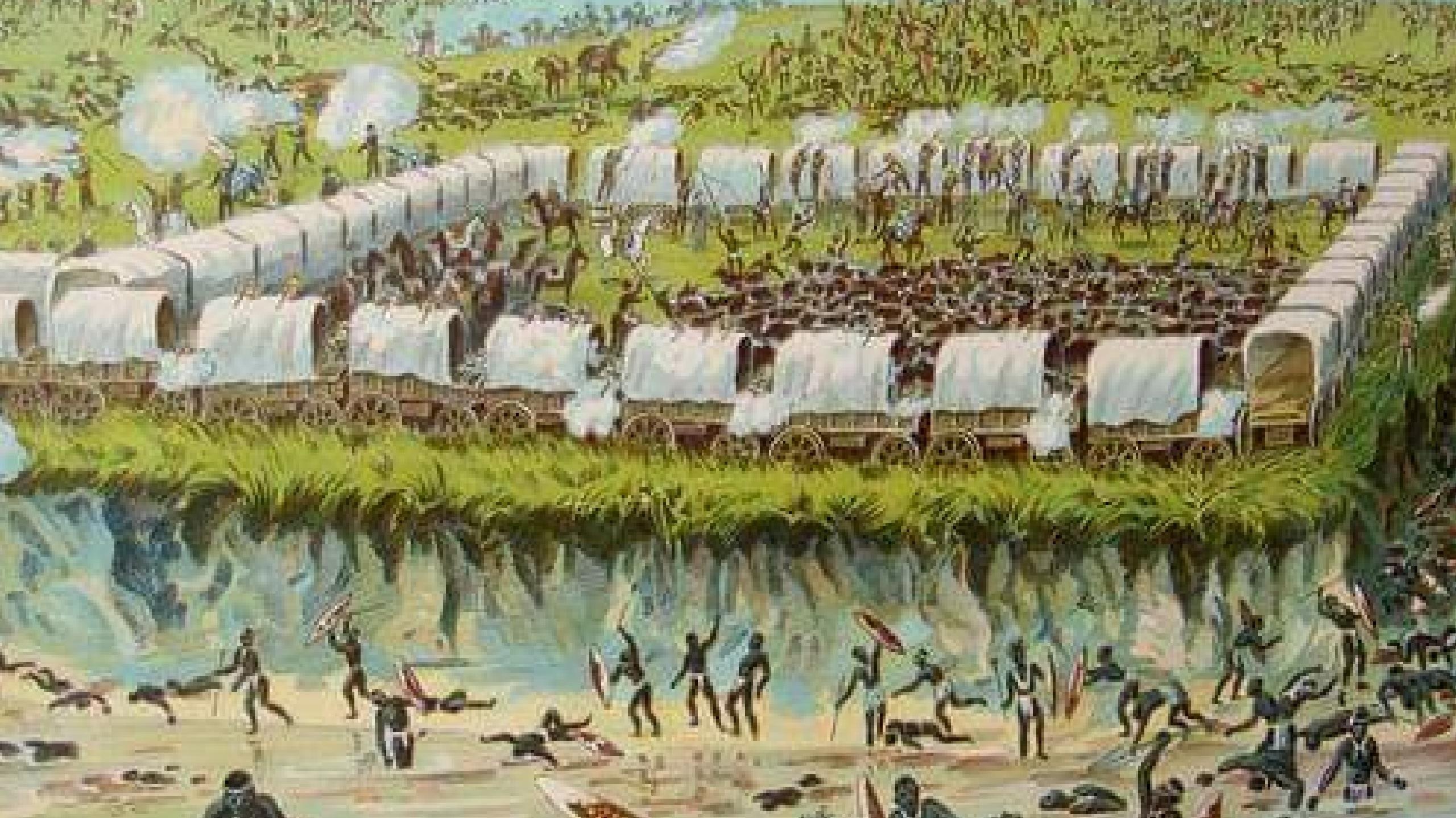 Zulu attack on Ox Cart Wagon
